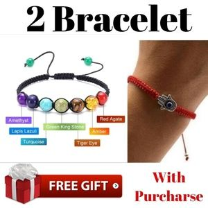 Jewelry - Two bracelet Evil Eye Gold filled 7Chakra Healing